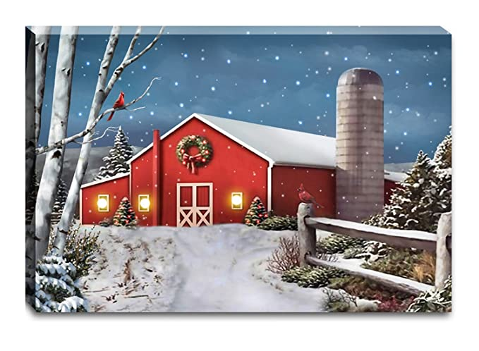 OSW Winter Country Barn Scene LED Art Canvas Light Up Picture 24x16x1 Inches