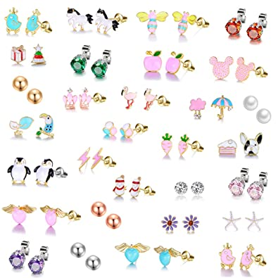 a4c461f6368c0 Tamhoo 30 Pairs Gold Plated Stainless Steel Post Small Cute Multiple Animal  Faux Pearl Stud Earrings Set for Girls Kids