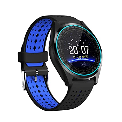 V9 Smart Watch with SIM Card Slot, Camera, Silicone Band and Bluetooth 4.0 for Android (Blue-Black)