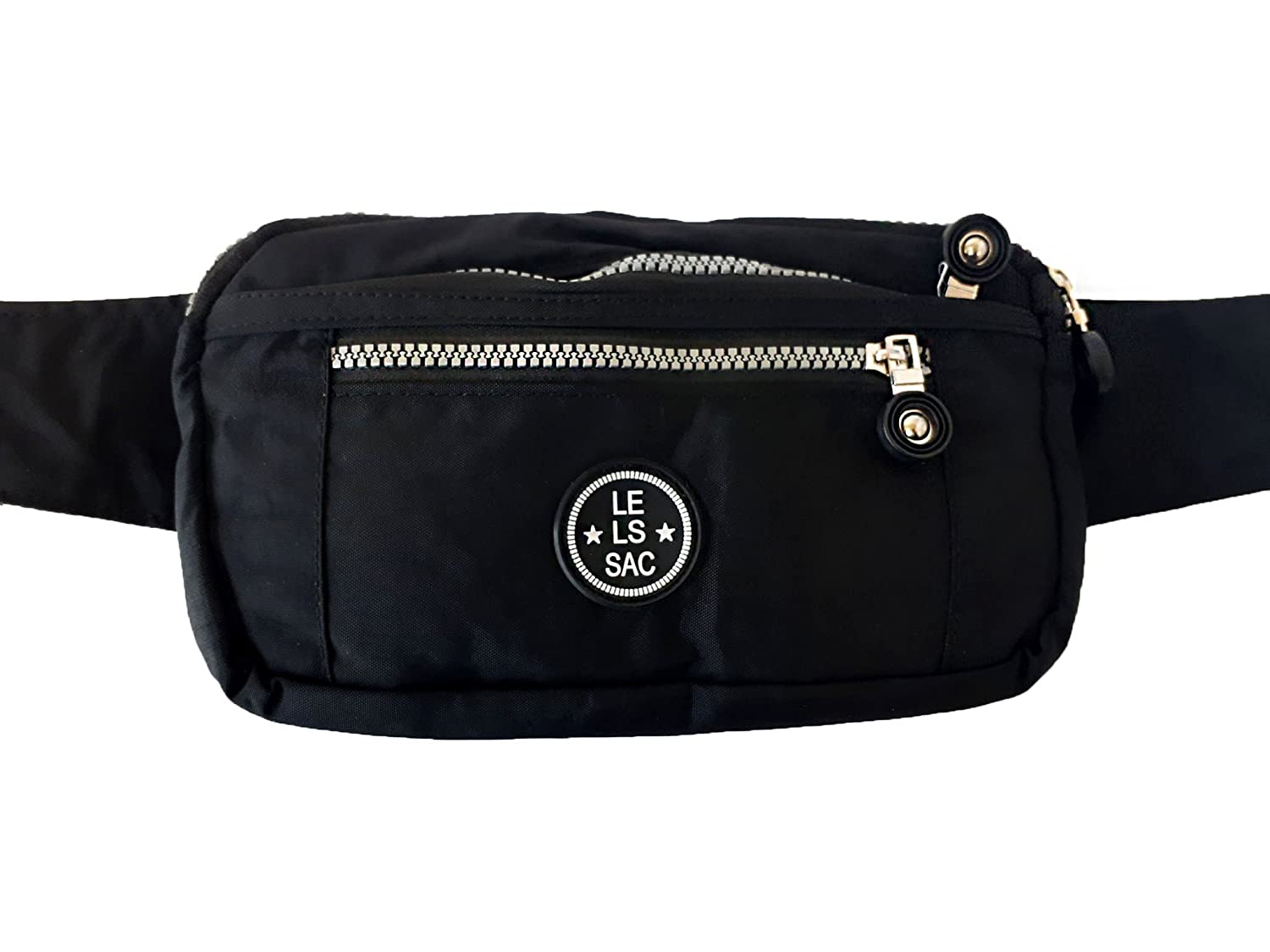 Le Sac Fanny Pack Waist Money Belt and Pouch for Travel Outdoors Sports Work with 4 Zippered Pockets in Black C6172 Blk