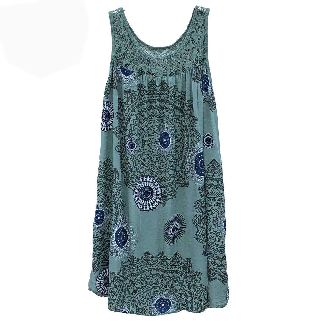Women Dresses Scoop Neck Sleeveless Lace Splice Casual Loose Beach Plain T-Shirt Swing Dress (M, Army Green)