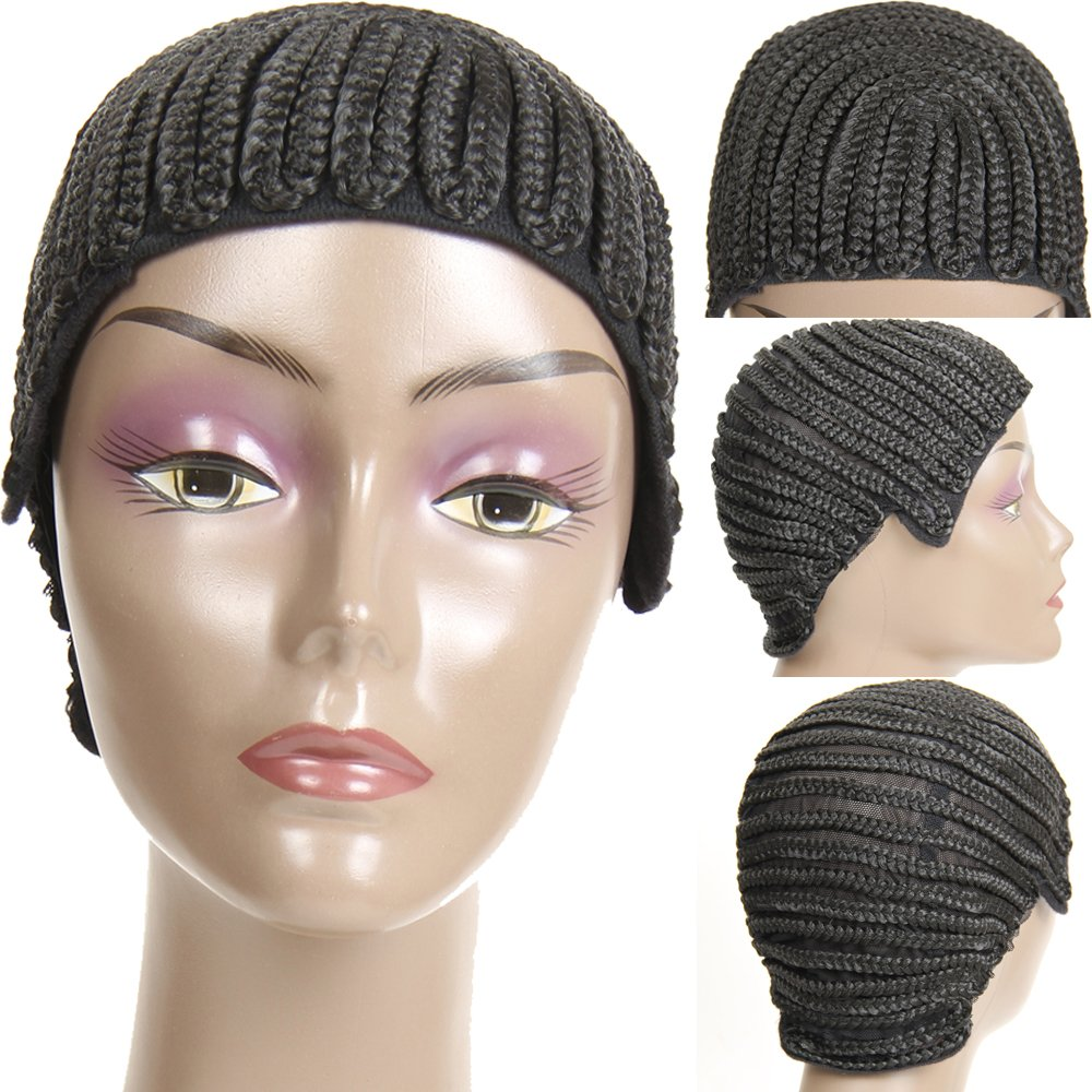 VRHOT (3Pcs/Lot) Braided Wig Cap Cornrow Crochet Weaving Wig Cap for Making Wigs with Combs Synthetic Weave Hair Nets Sew in Adjustable Straps Elastic Net Breathable (3pcs/lot Cornrow Cap) by VRHOT (Image #1)