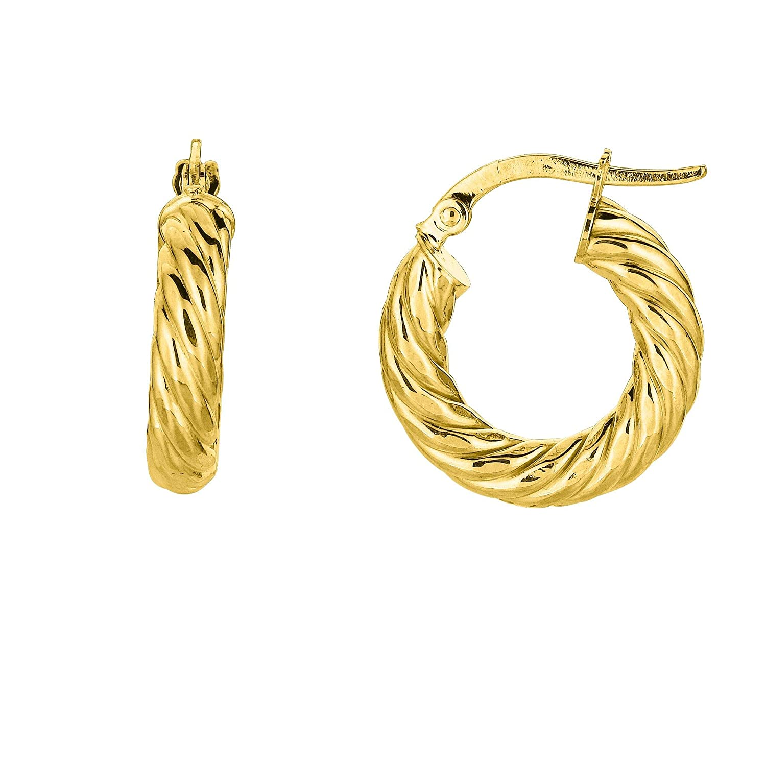 14K Yellow Gold 4x10mm Shiny Round Tube Twists Hoop Earrings with Hinged by IcedTime