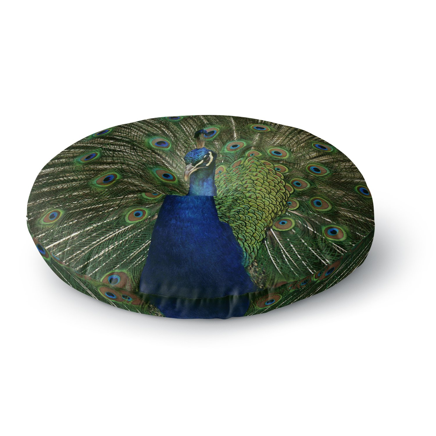 KESS InHouse Angie Turner Proud Peacock Blue Animals Round Floor Pillow, 26''