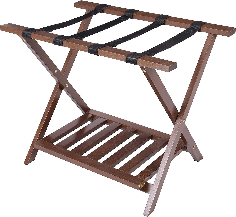 PJ Wood Luggage Rack With Shelf In Color L 26.60 x W 20.50 x H 18.50 inches Walnut