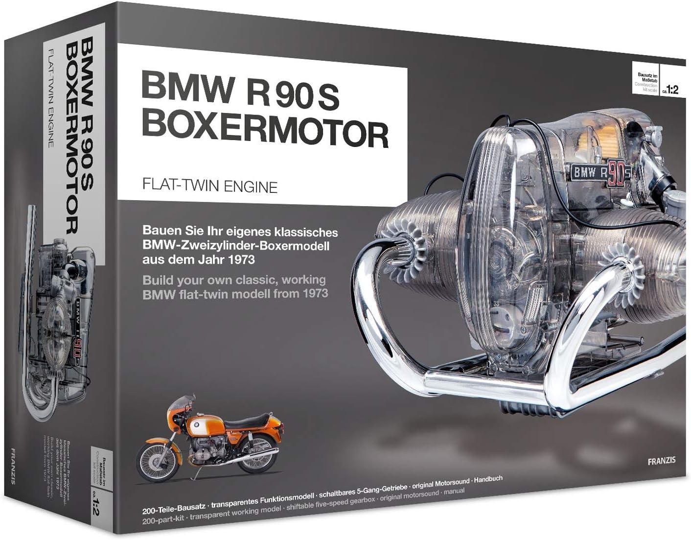 Franzis Verlag Boxermotor Kit de ingeniería para modelo clásico bicilíndrico de BMW R 90 S, 200 piezas, escala 1:2