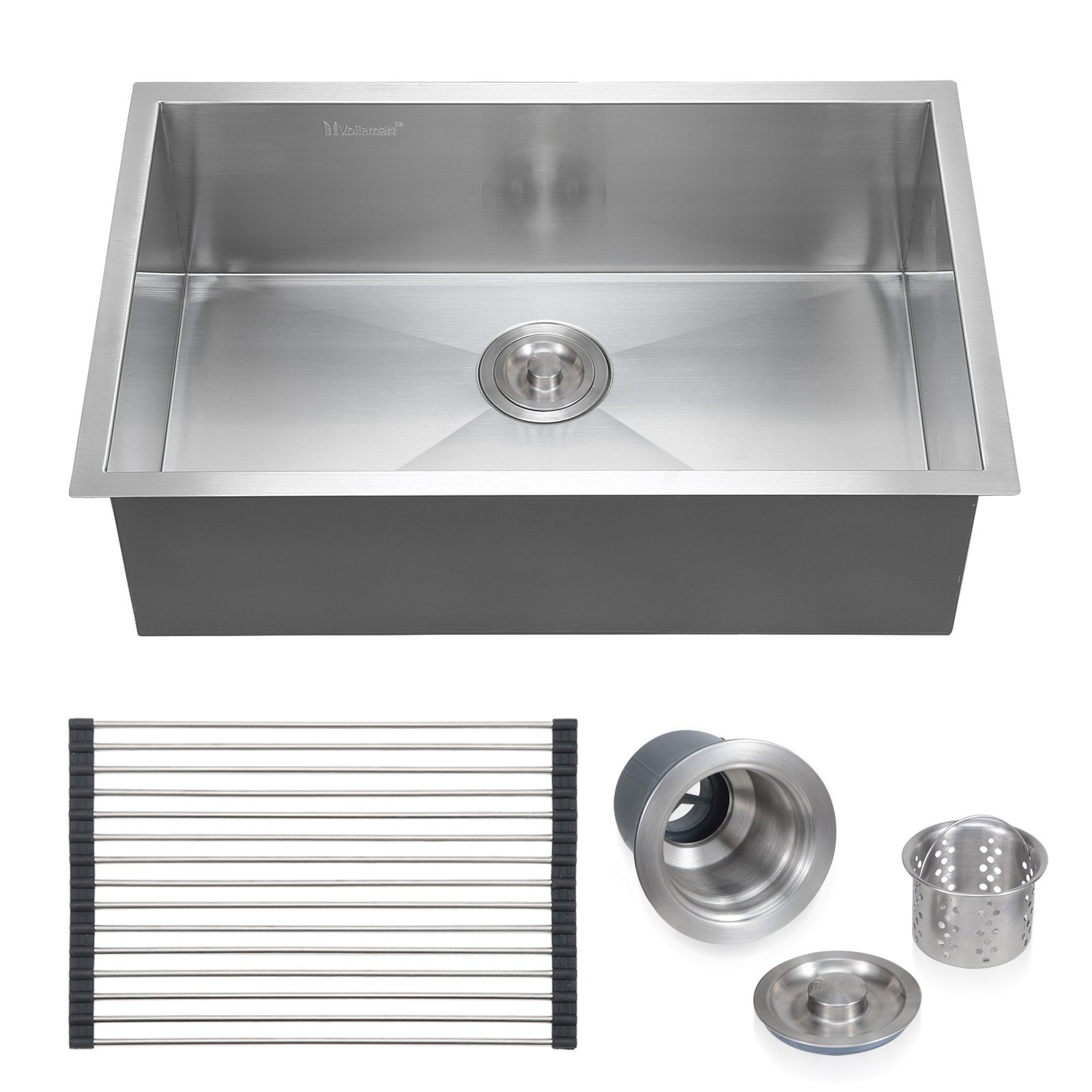 Voilamart 28'' x 18'' Single Bowl Handmade Stainless Steel Kitchen Sink 18 Gauge - Undermount Topmount Flushmount