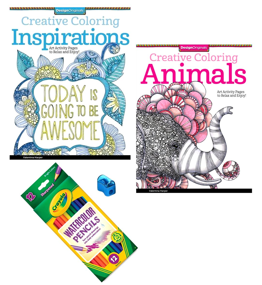 Amazon Animals And Inspirations Coloring Book For Adults 4 Piece Bundle 2 Books 24 Colored Pencils Sharpener Toys Games