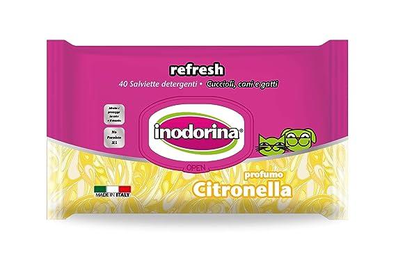 INODORINA Toallitas Refresh Citronela, 40 Unidades: Amazon.es: Productos para mascotas