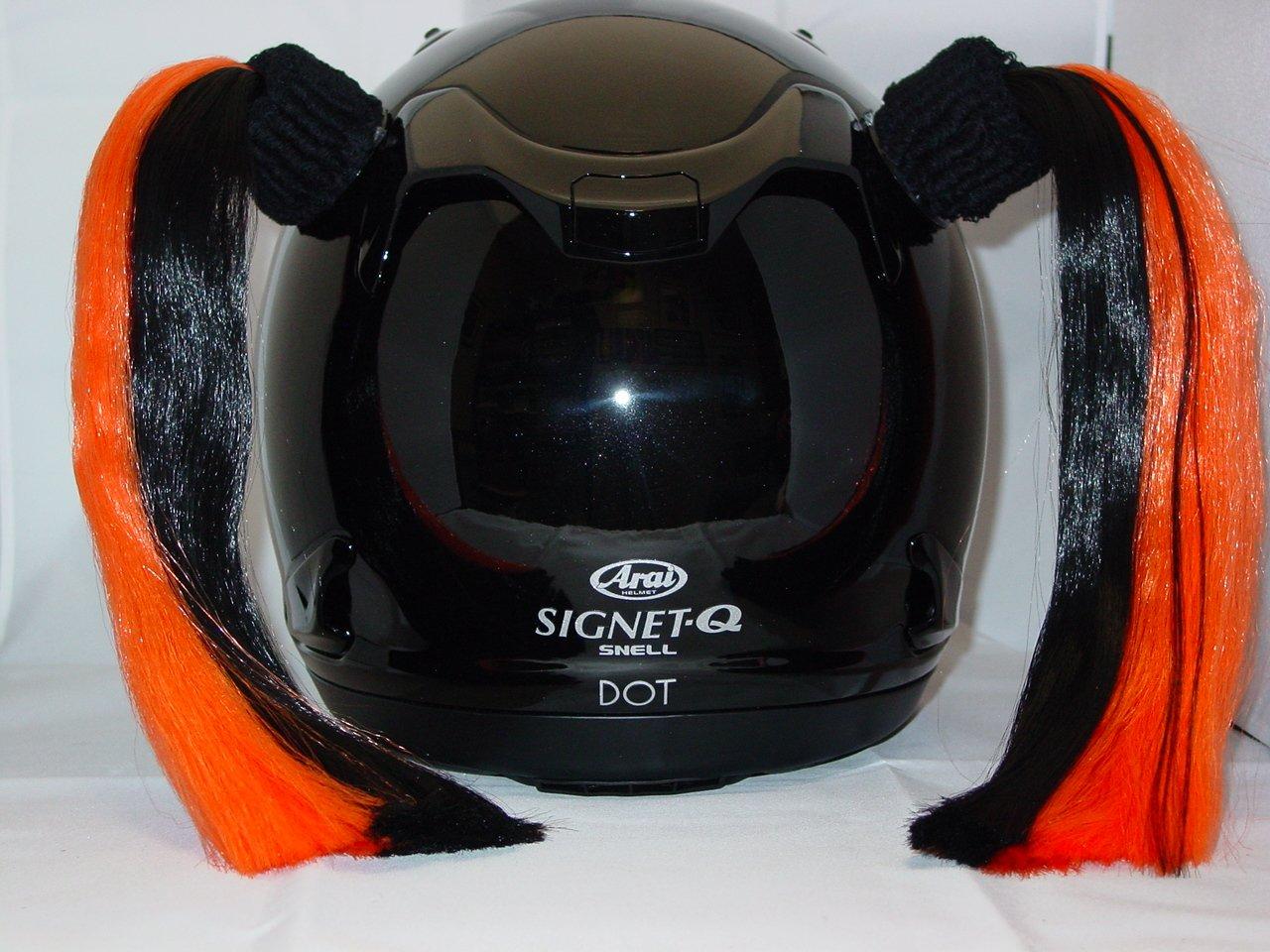 Black /& Orange Ladies Helmet Pigtails Works On Any Motorcycle or Other Helmet