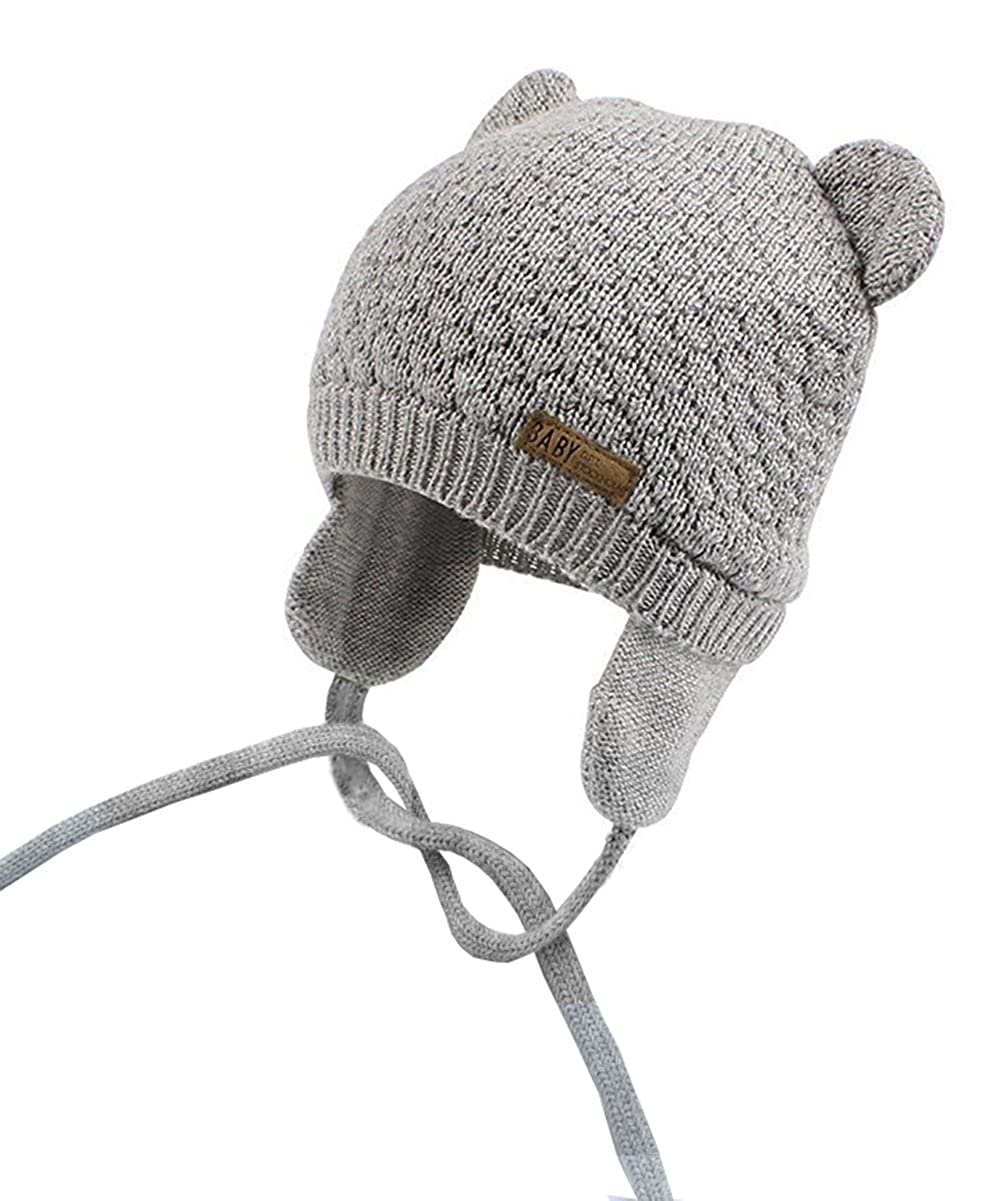 Chihom Infant Baby Boys Girls Knitted Hat with Earflaps Cute Beanie Skull Cap Warm Cuff Winter Bear Caps