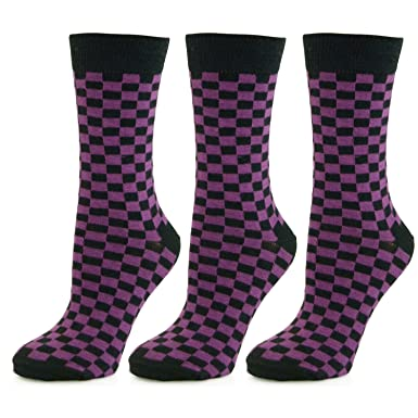 deac497b98c Children Checked Ankle Socks Purple (3 Pack)  Amazon.co.uk  Clothing