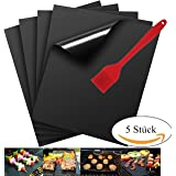 Grill Mat Non-stick BBQ Grill & Baking Mats with a Silicone Brush (Random Color ) - FDA-Approved, PFOA Free, Reusable and Easy to Clean - Works on Gas, Charcoal, Electric Grill, - 13 X 15.75 Inches (5 pcs with a brush)