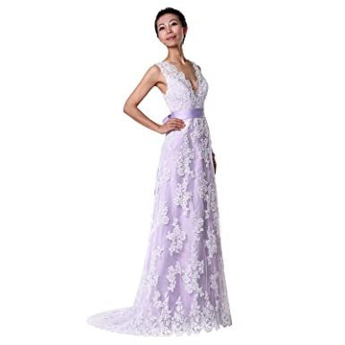 Aline Lace Wedding Dresses Lavender Wedding Gowns Custom Made at ...