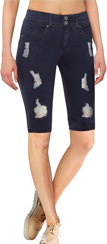 Hybrid & Company Women's Butt Lift V2 Super Comfy Stretch Denim Skinny Jeans, Capri, Bermuda