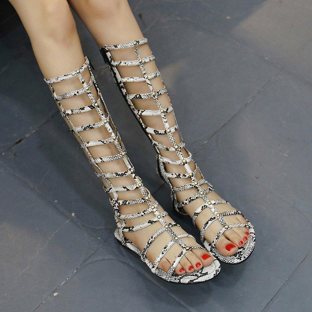 GoldGOD Damen Damen Damen Damen Sandalen Flache Unterseite Damen Stiefel Skinny Casual Offene Spitze Urlaub Sandalen Party Schuhe,Silber,37 daed51