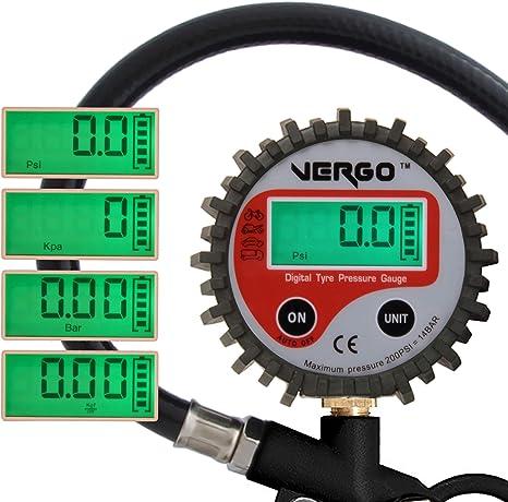 Vergo Digitales Reifenfüllgerät Heavy Duty 2 5 Zoll Durchmesser Kopf 3 In 1 Multifunktionsmessgerät 0 14 Bar 0 200 Psi Auto