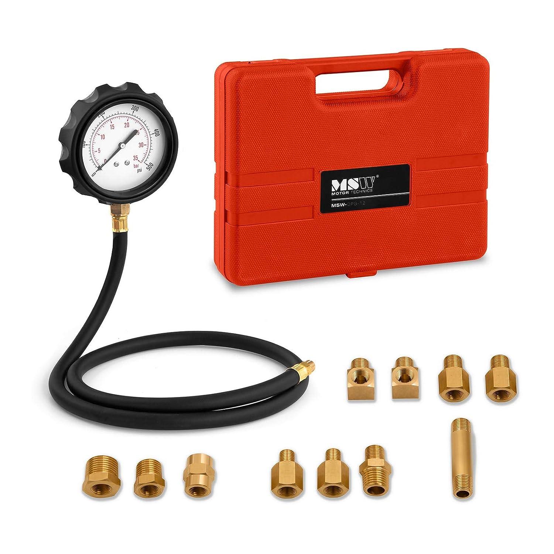 MSW Tester per Pressione Olio Auto Set da 12 Pezzi MSW-OPG-12 (Bar/PSI, 0-35 Bar, 0-500 PSI, 11 Adattatori, 75 mm) MSW Motor Technics