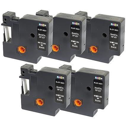 5 Compatibles Casetes D1 40921 blanco sobre negro 9mm x 7m cintas ...