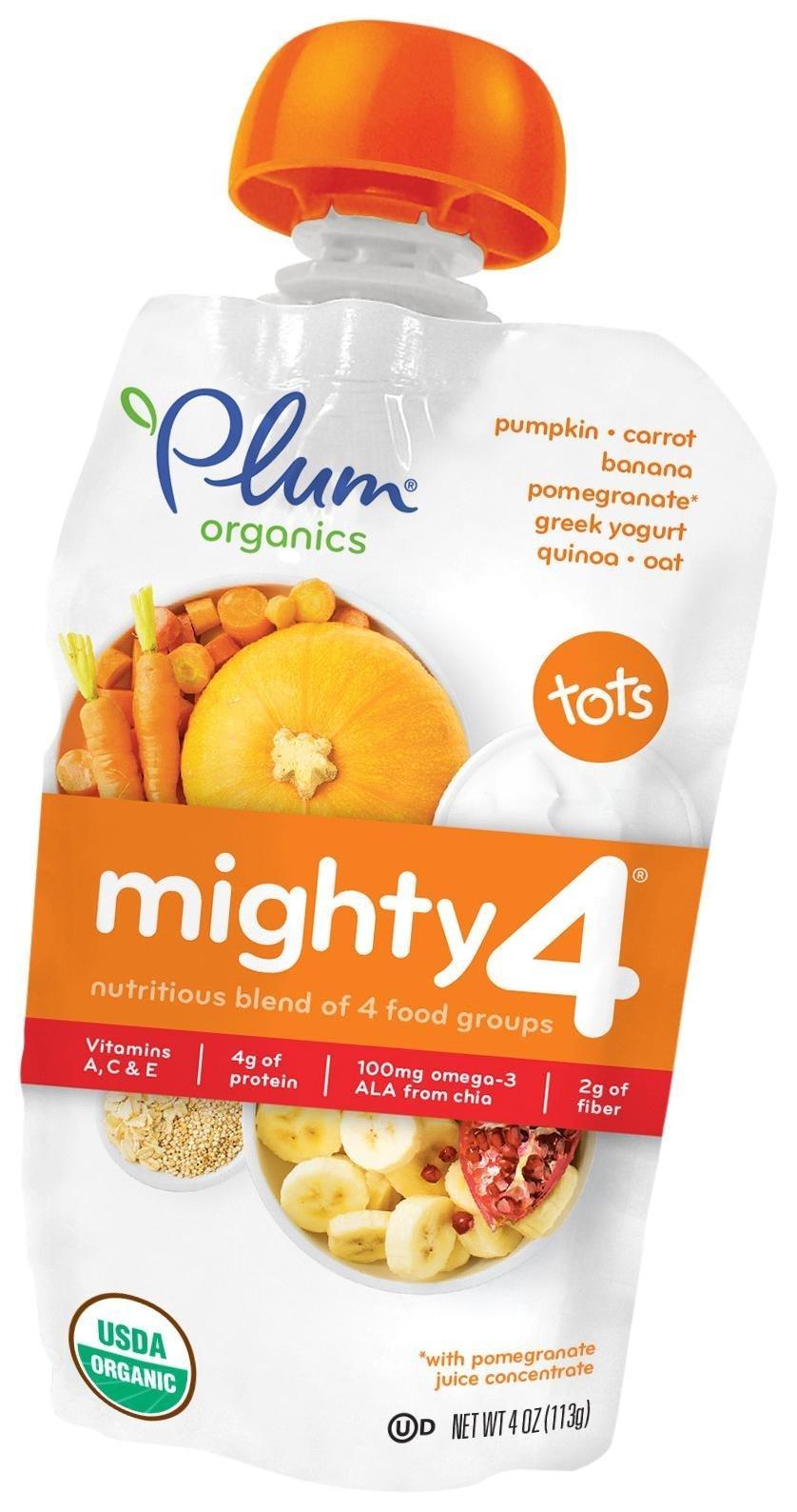 Plum Organics Tots Mighty 4 Purees - Pumpkin, Carrot, Banana, Pomegranate, Greek Yogurt, Quinoa & Oat - 4 oz - 6 pk