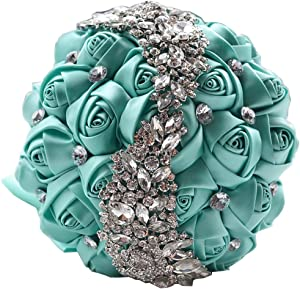 KUKI SHOP Handmade Romantic Silk Roses Meteor Shower Rhinestone Decor Satin Ribbon Wedding Bouquet Bridal Holding Bouquet Bridesmaid Bouqeut Wedding Decoration Flowers (Tiffany Blue)