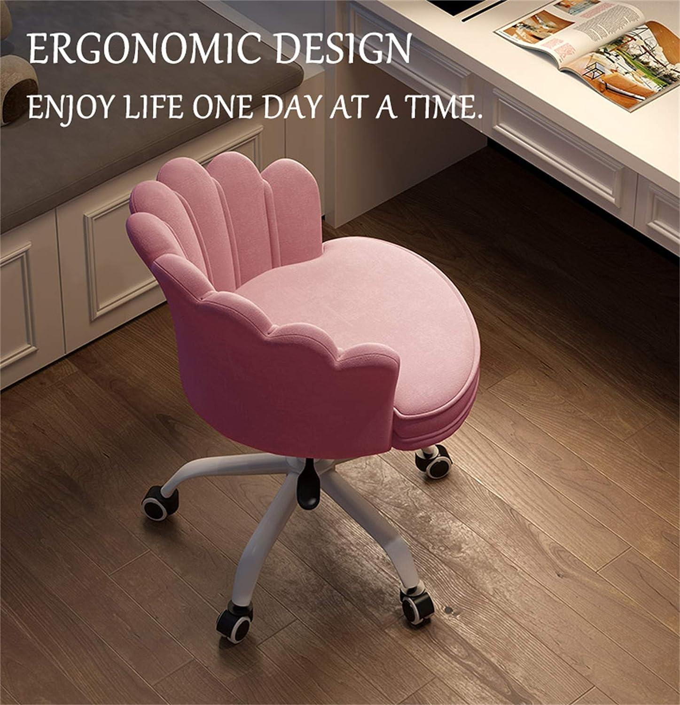 LYJBD sammet hem kontor stol justerbar svängbar rullande bekväm armlös skrivbordsstol för verkställande, formning, spel eller kontor vuxna och barn Rosa