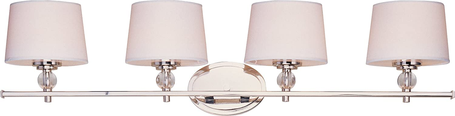Maxim Lighting 12764WTPN Rondo 4 Light Bath Vanity, Polished Nickel Finish  With White Fabric Shades   Vanity Lighting Fixtures   Amazon.com