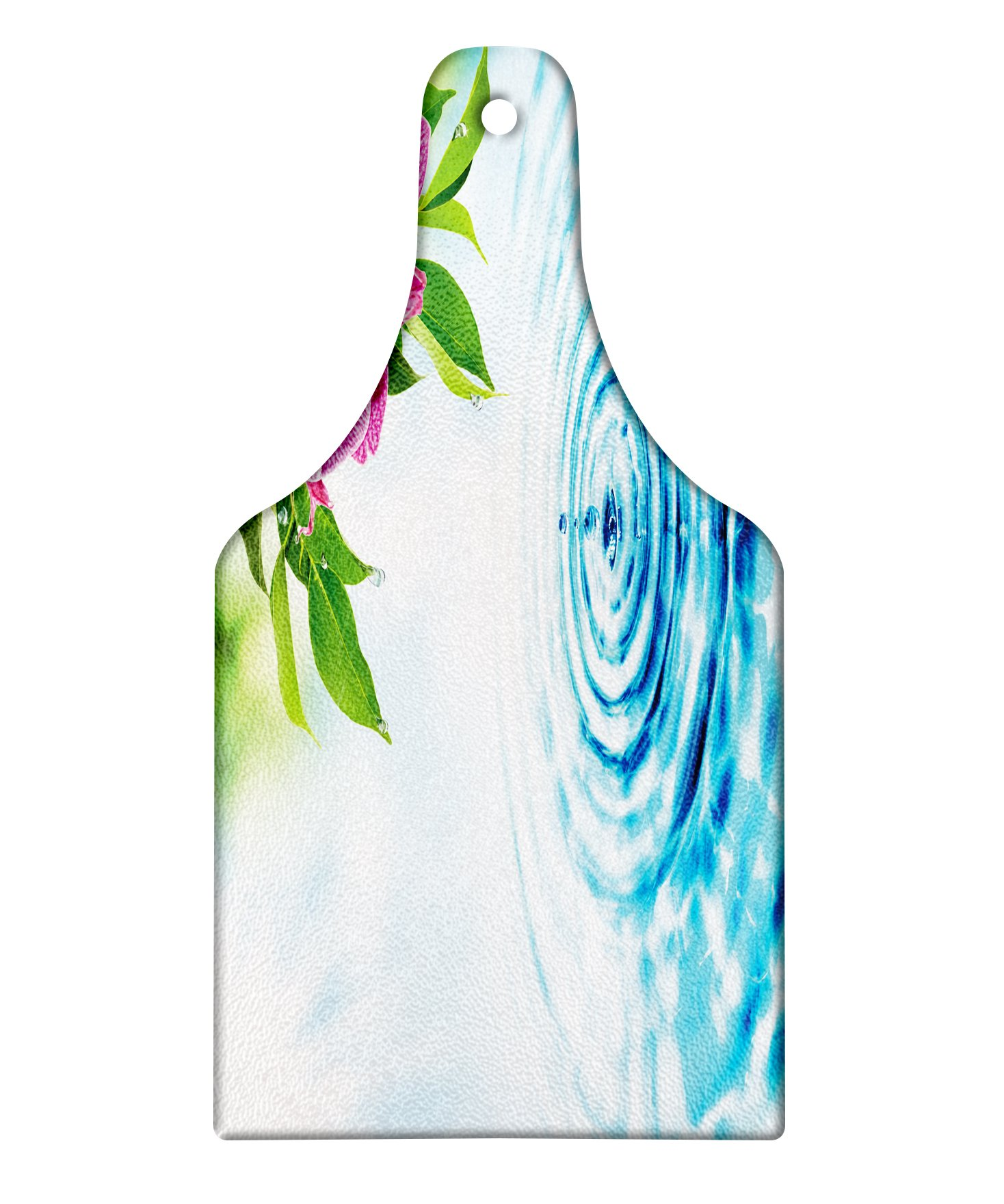 Lunarable Floral Cutting Board, Natural Inspired Relaxation Orchid Petals down on Water Spa Meditation Zen Concept, Decorative Tempered Glass Cutting and Serving Board, Wine Bottle Shape, Multicolor