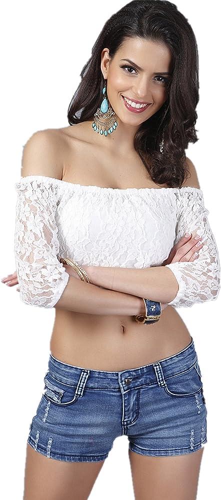 Manga 3/4 Flores Encaje Escote Cuello Bardot Corta Corto Crop Blusón Blusa Shirt Camisa T-Shirt Camiseta Playera tee Top Blanco: Amazon.es: Ropa y accesorios
