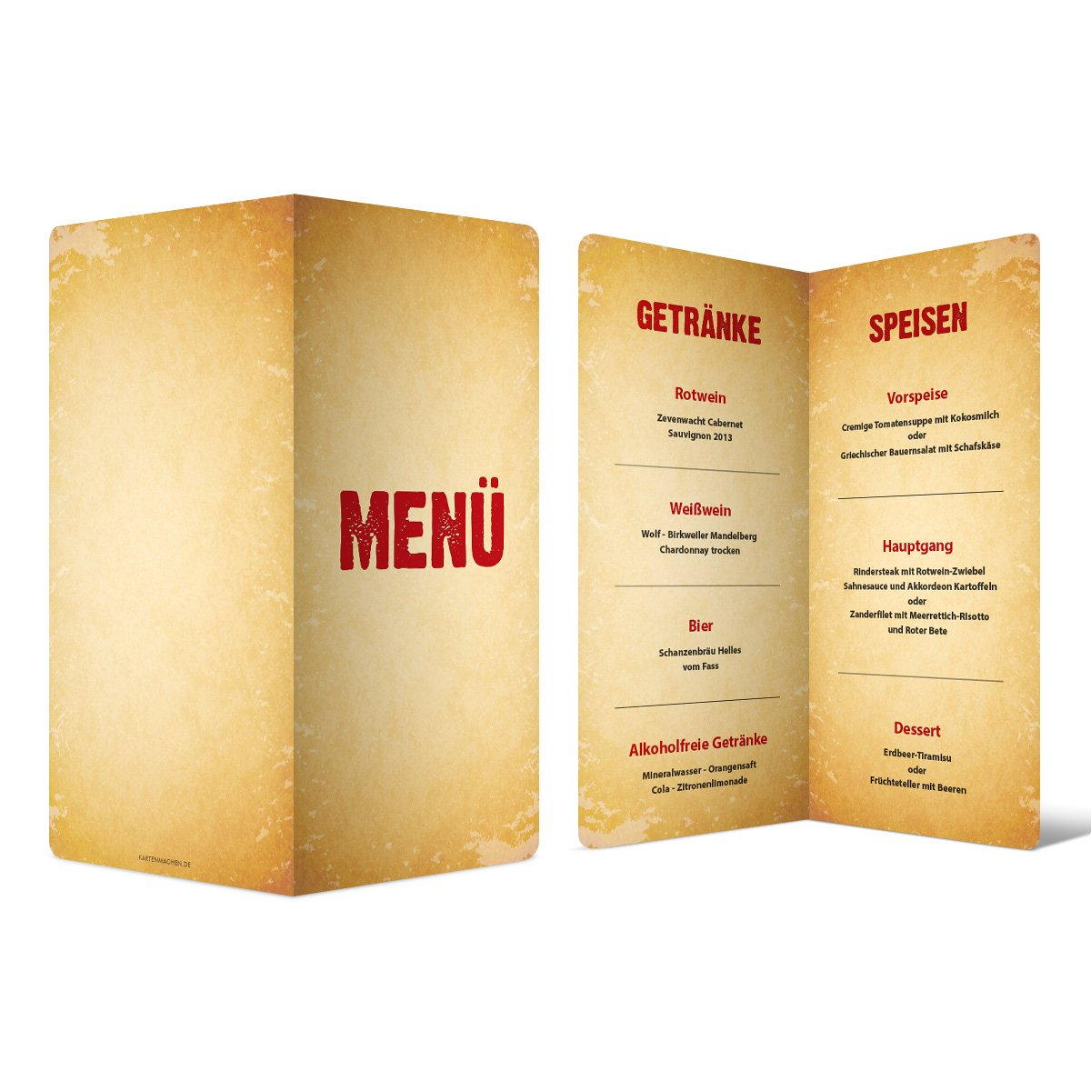 Menükarten Hochzeit (60 Stück) - Vintage - Speisekarte Getränkekarte B01N45KO5W | Günstige  | Lebhaft und liebenswert  | Abgabepreis