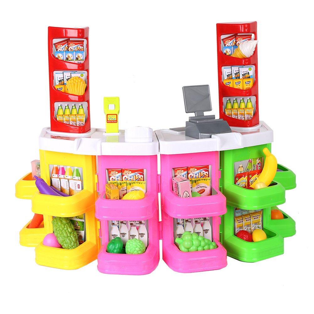 Livebest Kids Supermarket Cash Register Grocery Role Play 80 Pieces Set Checkout Counter Pretend Play Toys with Food, Scanner by Livebest