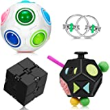 4 Pieces Fidget Toy Set Handheld Mini Fidget Toy Stress Reducer Anxiety Relieve Handheld Toy Include 12-Side Fidget Toy…