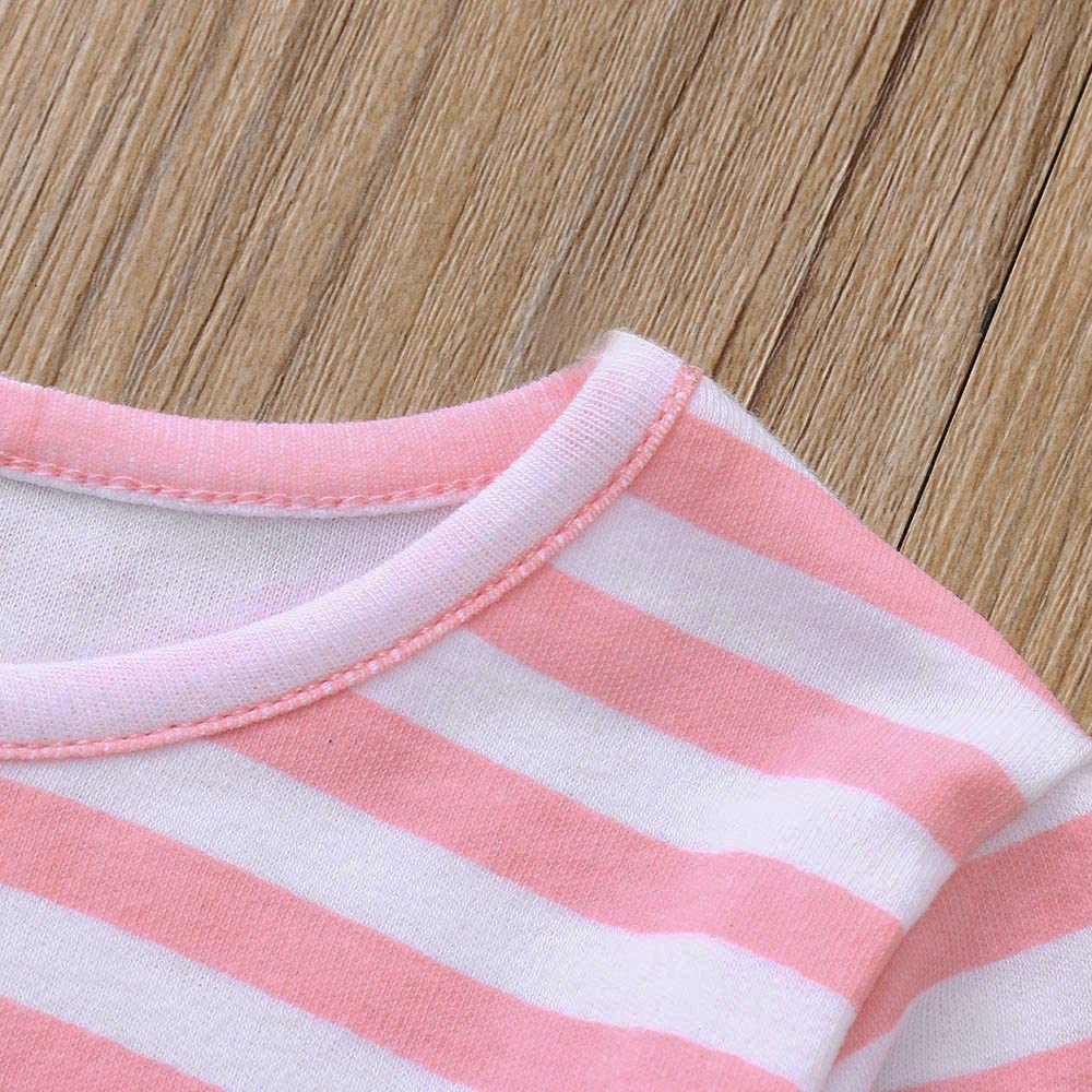LIKESIDE Baby Girls Adorable Cartoon Cat Striped Tops Dresses Pants Clothing Set