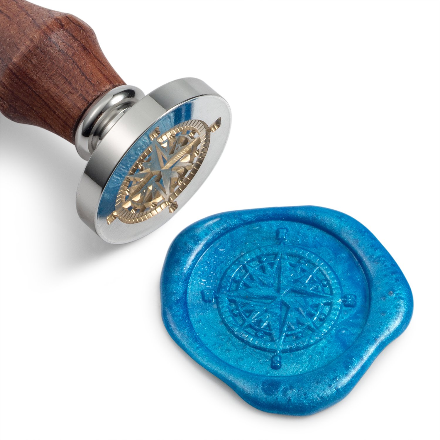 Mceal Wax Seal Stamp, Silver Brass Head with Wooden Handle, Compass