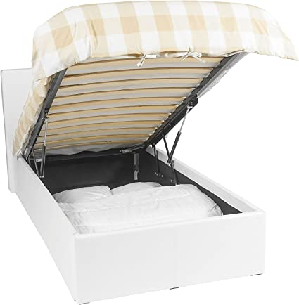 EuropeDirectShopping Luna Ottoman   Cama con almacenaje   90x190   Blanco   430 Liter Espacio de Almacenamiento