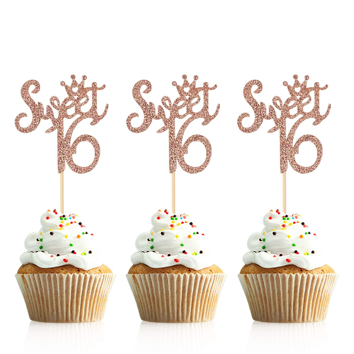 24Pcs Rose Gold Glittery Sweet 16 16 Happy Birthday Cupcake Toppers 16th Birthday Party Decorations,Cheers to 16 Year,Sweet Sixteen,16th Anniversary Party Decorations,16th Birthday Cake Toppers Decor