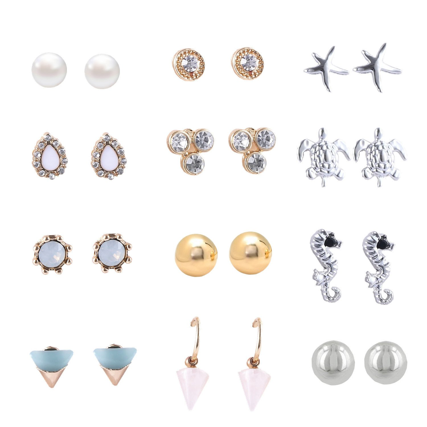 Women's Girl's Assorted Multiple Stud Earring 12 Style Sets DF-039