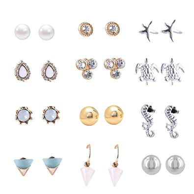 cb3591663 Amazon.com: Women's Girl's Assorted Multiple Stud Earring 12 Style Sets (12  Style girls earring): Sports & Outdoors