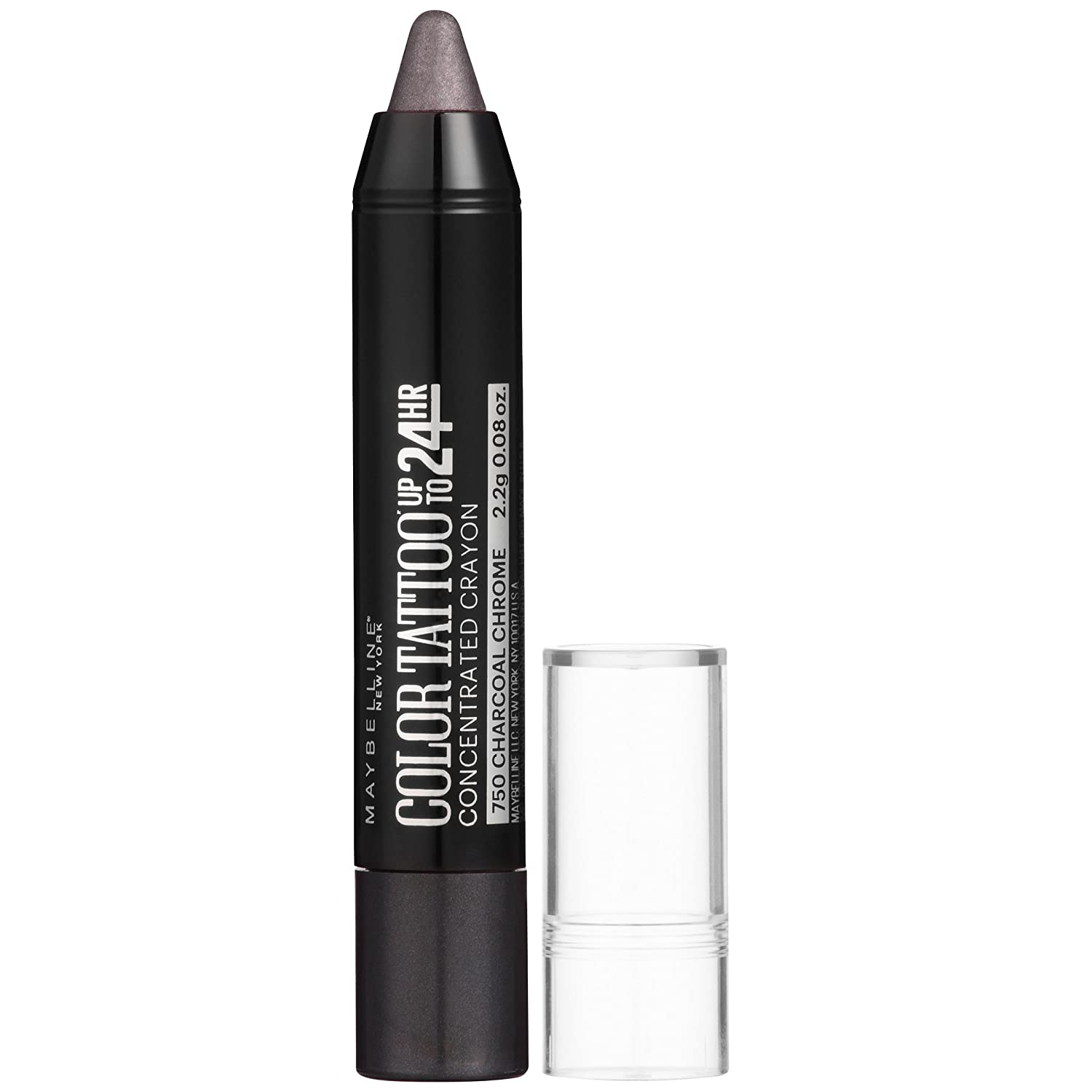 Maybelline New York Eyestudio Color Tattoo Concentrated Crayon Eye Color, Charcoal Chrome, 0.08 Ounce