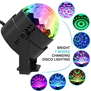 Yoozon Party Lights, [2-PACK] Sound Activated Disco Ball Strobe Party Light, 7 Lighting Color Disco Lights with Remote Control for Bar Club Party DJ Karaoke Wedding Show and Outdoor(3W) (Black) (Color: Black)