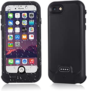cjc Metal Waterproof Battery Case Compatible with iPhone 8/iPhone 7 - IP67 Waterproof Slim Portable Power Bank with 3000mAh High Capacity - Fastcharging - 130% Extra Battery Life - 1 Year Warranty