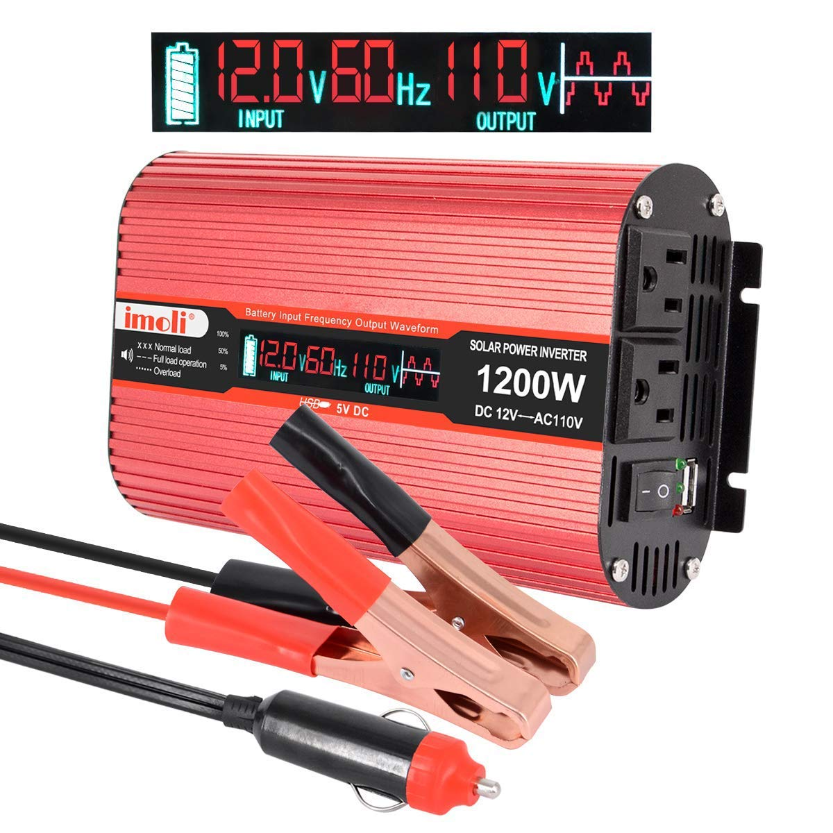 Car Power Inverter, imoli 1200W/2400W DC 12V to AC 110V Converter Automotive Modified Sine Wave 3.1A USB 2 AC Outlets with LCD Digital Display