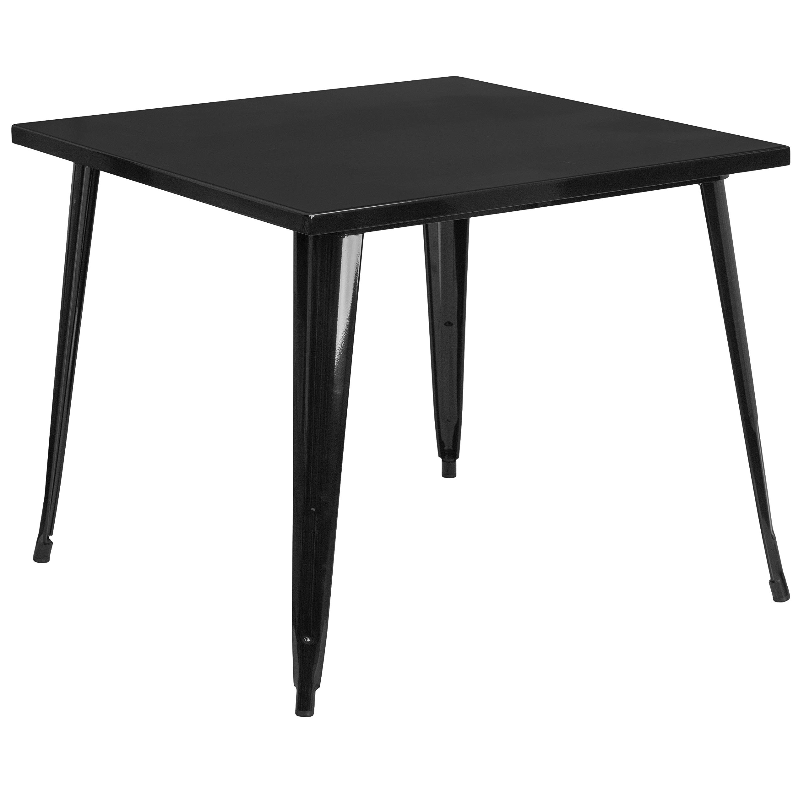 MFO 35.5'' Square Black Metal Indoor-Outdoor Table by My Friendly Office