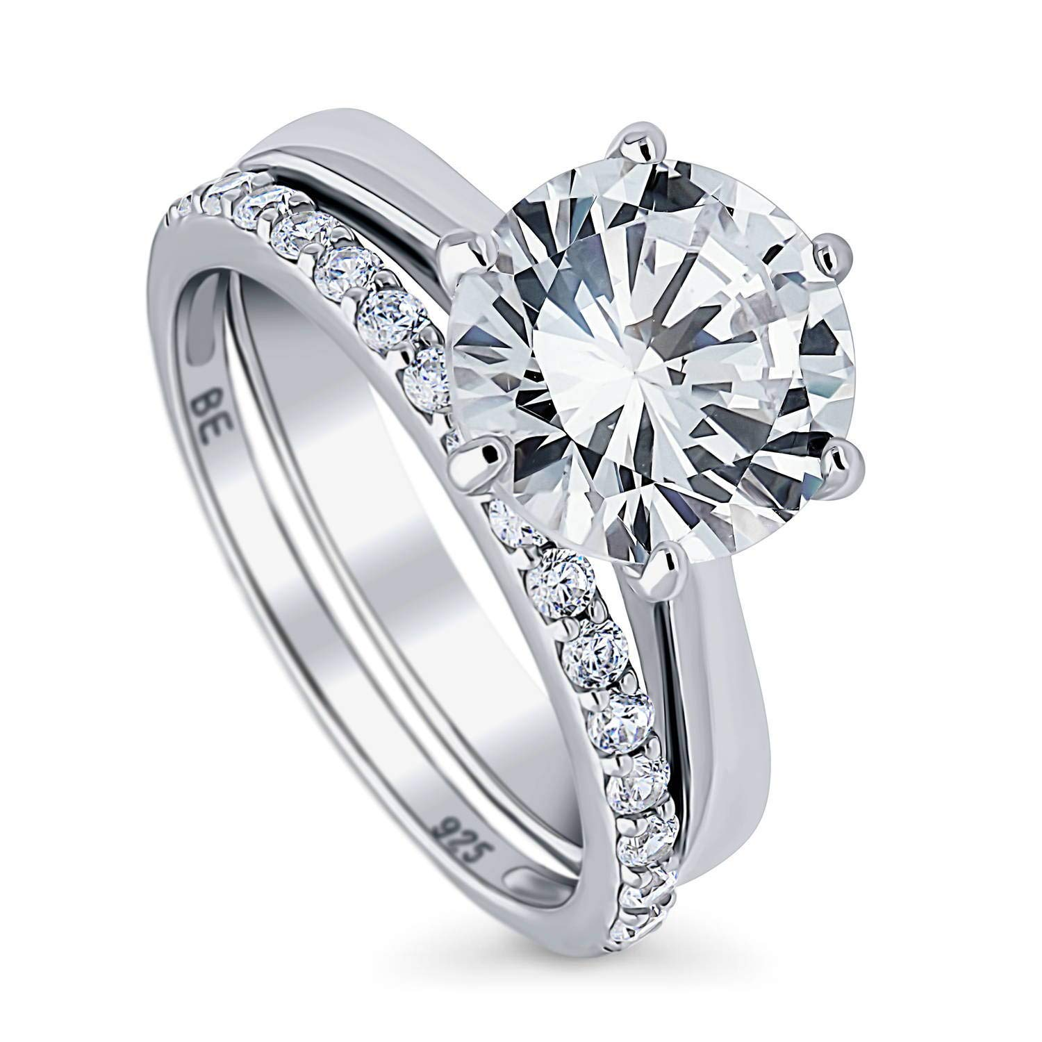 BERRICLE Rhodium Plated Sterling Silver Round Cubic Zirconia CZ Solitaire Engagement Wedding Ring Set 4.19 CTW Size 10