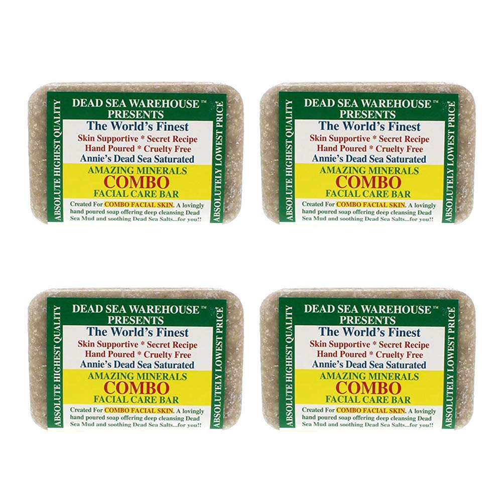 Dead Sea Warehouse - Amazing Minerals Combo Facial Care Bar, Hand Crafted with Deep Cleansing Dead Sea Mud & Soothing Dead Sea Salts (5.2 oz) | 4-Pack