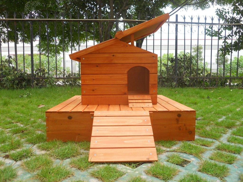 Una casa por los patos con una plataforma de madera flotante: Amazon.es: Jardín