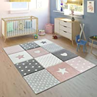 Children's Rug Pastel Colours Checked Dots Hearts Stars White Grey Pink, Size:80x150 cm
