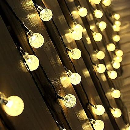 linangx interior globo guirnalda de luces 30 LED Solar Bola de cristal luces para Patio al