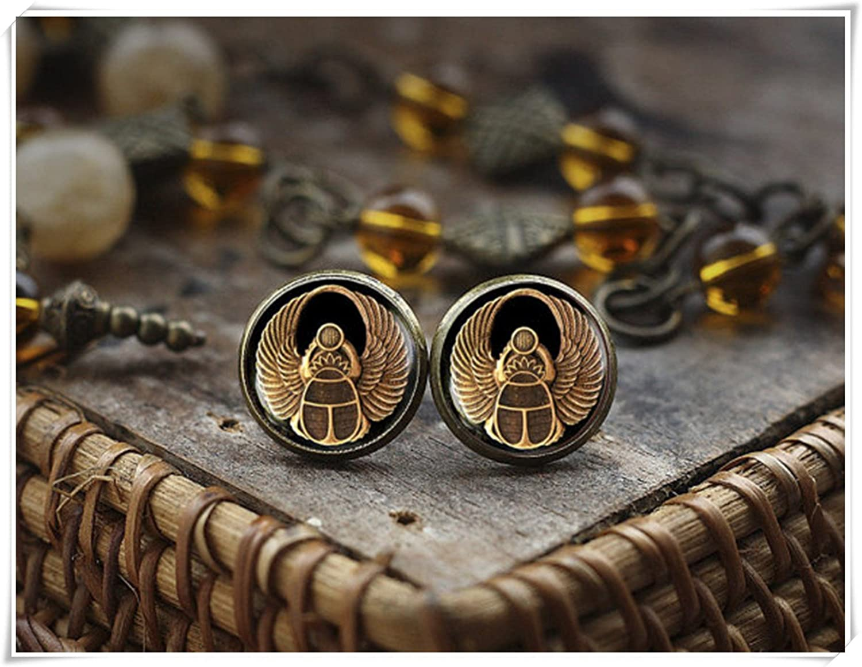 Scarab Stud Pendientes, ANTIGUO EGIPTO joyas, egipcio Escarabajo pendientes