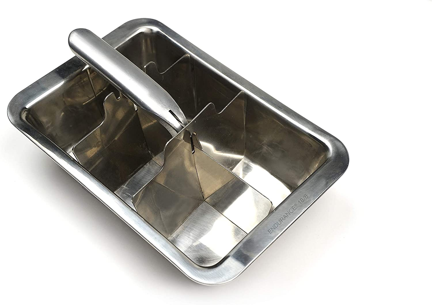 RSVP International Endurance Stainless Steel Large Ice Tray, 6 Cubes | Does Not Absorb Odors or Over Dilute | Perfect for Scotch, Whiskey, Broth, Fruit Juice and more | Dishwasher Safe